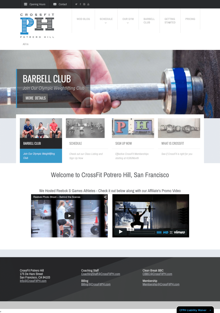 Screenshot of homepage for Crossfit Potrero Hill