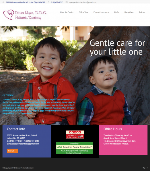 Screenshot of Homepage for Reyes Pediatric Dentistry