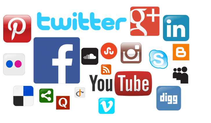 Social media logos, facebook, rss, youtube, pinterest, twitter, soundcloud, digg, linkedin, blogger, skype, instagram