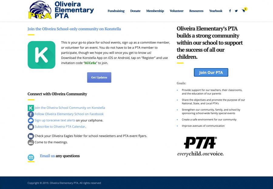 Screenshot of homepage Oliveira Elementary PTA oliveirapta.org