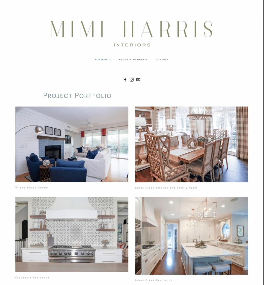 Homepage of Mimi Harris Interior Design Website